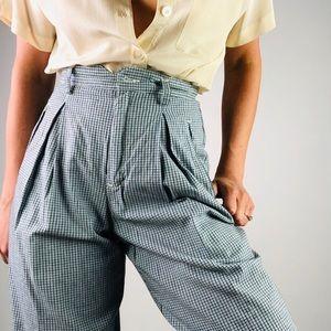 [Vintage] Cotton Plaid High Waist Pleat Front Pant
